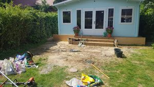 A Client's Garden ruined after Builders have been in Raynes Park