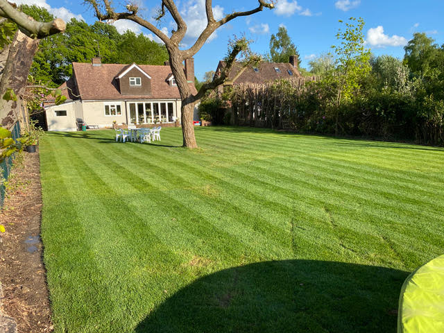 Turfing job complete with stripy lawn